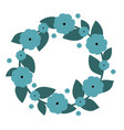 cute wreath with blue flowers wreath vector image vector image