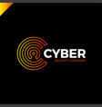 cyber security and defender line letter c vector image vector image