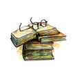 eyeglasses on top stack books and open book from vector image