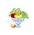 Faience bowl blue color with fruit vector image vector image