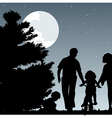 family walks with children in the evening a vector image vector image