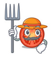 farmer character tomato slices for food decor vector image
