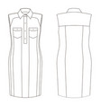 fashion technical sketch dress in vector image
