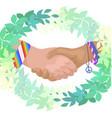flat shaking hands in green vector image vector image