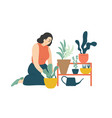 funny happy girl taking care houseplants vector image vector image