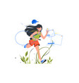 girl running with phone and headset outdoor vector image vector image