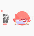 girl sit in bath tub landing page template young vector image