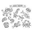 grunge contours of sea animals with names vector image vector image