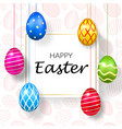 happy easter background decorative text hanging vector image