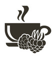 icon cup of hot tea with raspberry flavor logo in vector image vector image