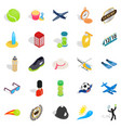 inning icons set isometric style vector image
