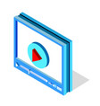 isometric video player interface for web site vector image