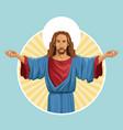 jesus christ religious image label vector image