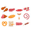 Meat flour and bread flat icons set
