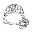 military helmet grenade black and white vector image