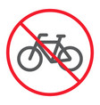 no bicycle line icon prohibition and forbidden vector image