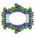 oval label on a floral background vector image vector image