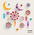 paper graphics islamic symbols vector image