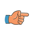pointing hand symbol forefinger index finger vector image vector image