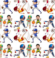 Seamless background with people doing sports vector image