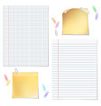 sells and strips notebook paper with paper clips vector image