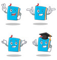 set of blue book character with two finger wink vector image vector image