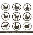 set of labels with chicken vector image