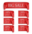 Set of realistic red paper stickers or banners vector image vector image