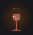 silhouette wineglass with wine on black vector image vector image