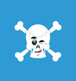skull and crossbones winks emoji skeleton head vector image vector image
