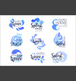 splash wave logo original design set hand drawn vector image