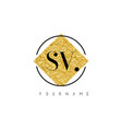 sv letter logo with golden foil texture vector image