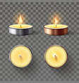 tea candle romantic candles in metal flame vector image vector image