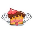 tongue out sponge cake mascot cartoon vector image vector image