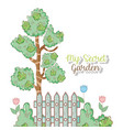 trees with flowers plants and leaves in the garden vector image vector image