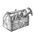 vintage wooden toolbox with old instrument vector image vector image