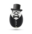 White egg in a tuxedo and hat vector image