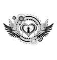 winged mechanical heart vector image