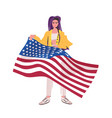 woman holding usa flag 4th july american vector image vector image