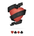Suit of Hearts Playing With Ribbon vector image
