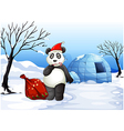 a panda with a red sack vector image vector image