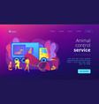 animal control service concept landing page vector image vector image