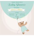 baby shower card - bunny with balloon vector image vector image