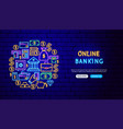 banking neon banner design vector image vector image