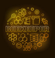 beekeeper yellow round in thin vector image
