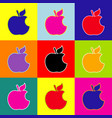 bite apple sign pop-art style colorful vector image