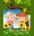 boy and girl in sunflower garden vector image vector image