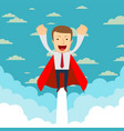 business hero or superhero flying through the vector image vector image
