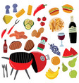 cartoon color barbeque picnic elements set vector image