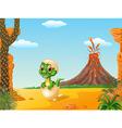Cartoon funny baby tyrannosaurus hatching vector image vector image